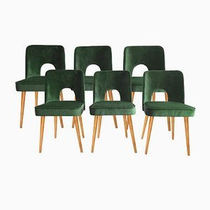Green Velvet Shell Dining Chairs by Lesniewski for Slupskie Fabryki Mebli, 1962, Set of 6