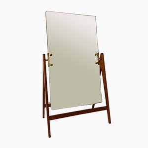 Large Mid-Century Brass and Teak Mirror by Hans-Agne Jakobsson for Hans-Agne Jakobsson AB Markaryd, 1960s