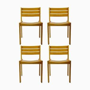 Stapelbare Esszimmerstühle aus Holz von Wilkhahn, 1980er, Set of 4