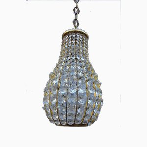 Italian Crystal and Brass Lantern, 1950s