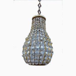 Italienische Laterne aus Kristallglas & Messing, 1950er