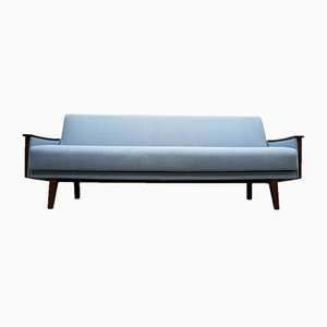 Mid-Century Danish Light Blue Tweed 3-Seater Sofa Bed, 1960s