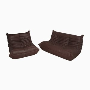 Sofás Togo Madras de cuero marrón de Michel Ducaroy para Ligne Roset, años 70. Juego de 2
