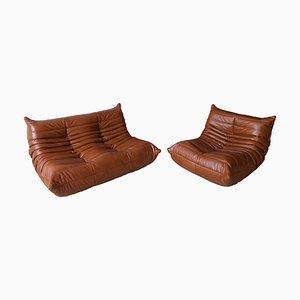 Tabaco Braune Leder Togo Sofas von Michel Ducaroy für Ligne Roset, 1970er, 2er Set