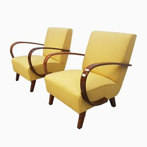 Yellow Bentwood Armchairs by Jindřich Halabala for Thonet, 1930s, Set of 2
