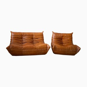 Dubai Pine Leather Togo Sofas by Michel Ducaroy for Ligne Roset, 1970s, Set of 2