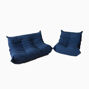 Blue Navy Microfiber Togo Sofas by Michel Ducaroy for Ligne Roset, 1970s, Set of 2