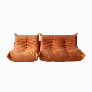 O Microfiber Togo Sofas by Michel Ducaroy for Ligne Roset, 1970s, Set of 2