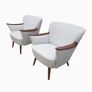 Mid-Century Light Gray Tweed Lounge Chairs, 1960s, Set of 2