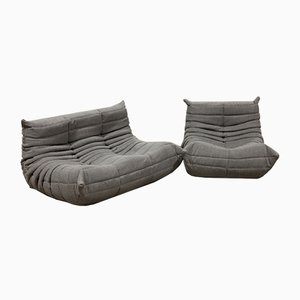 Grey Fabric Togo Sofas by Michel Ducaroy for Ligne Roset, 1970s, Set of 2