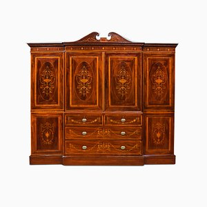 Antique Sheraton Revival Mahogany Inlaid Breakfront Wardrobe