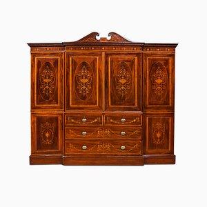 Antique Sheraton Revival Mahogany Inlaid Breakfront Wardrobe
