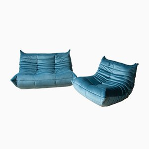 Blue Sea Velvet Togo Sofas by Michel Ducaroy for Ligne Roset, 1970s, Set of 2