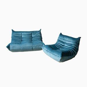 Divani Togo di velluto blu di Michel Ducaroy per Ligne Roset, anni '70, set di 2
