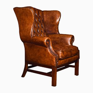 Antique Leather Wingback Armchairs, Set of 2