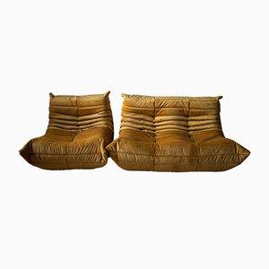 Divani Togo dorati di velluto di Michel Ducaroy per Ligne Roset, anni '70, set di 2