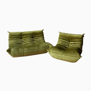 Green Olive Velvet Togo Sofas by Michel Ducaroy for Ligne Roset, 1970s, Set of 2