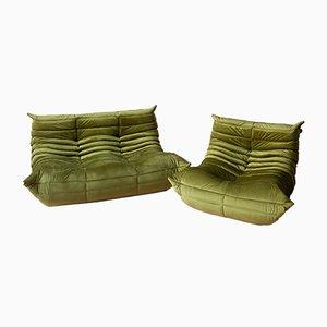 Grüngrüne Samt Togo Sofas von Michel Ducaroy für Ligne Roset, 1970er, 2er Set