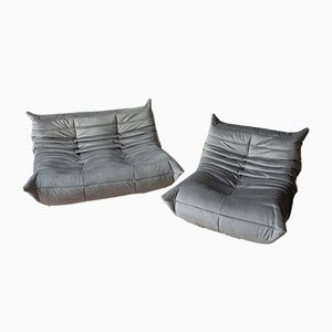 Grey Velvet Togo Sofas by Michel Ducaroy for Ligne Roset, 1970s, Set of 2