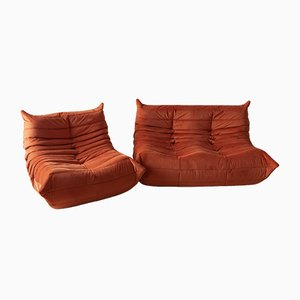Orange Velvet Togo Sofas by Michel Ducaroy for Ligne Roset, 1970s, Set of 2