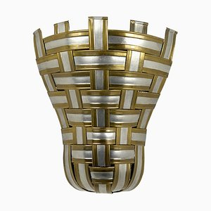 Hollywood Regency Interwoven Aluminium and Brass Corner Sconces, 1960s, Set of 4