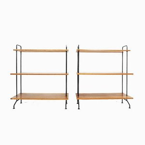 Small Free Standing Walnut and Lacquered Metal Bookcase from Idealheim, 1960s, Set of 2