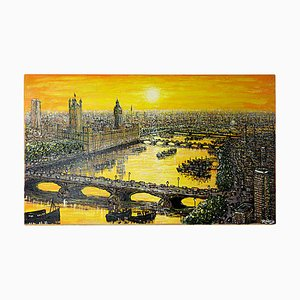 Goldenes Portrait der City of London im Morgengrauen von Rodrig, 1960er