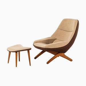 Danish Model ML-91 Easy Chair with Stool by Illum Wikkelsø for Michael Laursen, 1950s