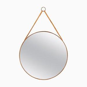 Runder Spiegel aus Teak und Leder von Glasmäster aus Markaryd, Schweden, 1950er