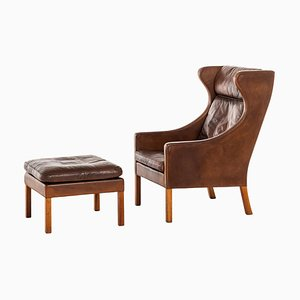 Wing Back Easy Chairs Model 2204 by Børge Mogensen for Fredericia, 1950s, Set of 2