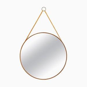 Round Mirror in Teak and Leather from Glasmäster in Markaryd, Sweden, 1950s