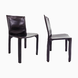 Black Patina Leather Model CAB 412 Chairs by Mario Bellini for Cassina, 1977, Set of 2