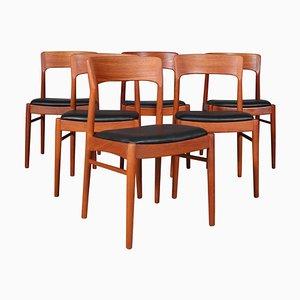 Teak Esszimmerstühle von Henning Kjærnulf, 1970er, 6er Set