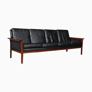 Rosewood and Leather 4-Seat Sofa by Fredrik A. Kayser, Norway, 1960s