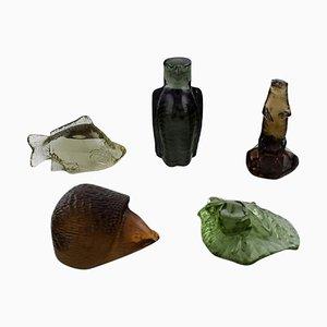 Mid-Century Kunstfiguren aus Glas von Paul Hoff für Svenskt Glas, 5er Set