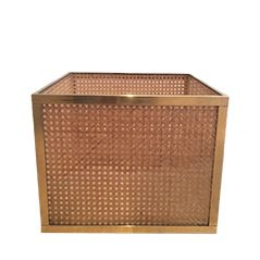 Lucite and Rattan Planter
