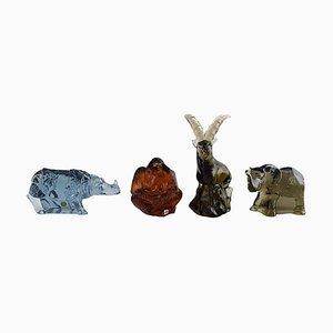 Mid-Century Kunstfiguren aus Glas von Paul Hoff für Svenskt Glas, 4er Set