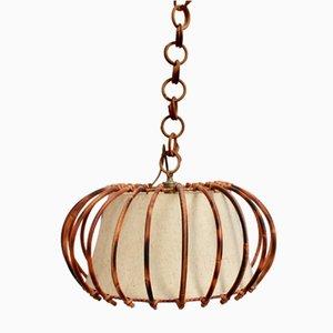 Mid-Century French Rattan Pendant Lamp, 1960s
