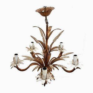 French Decorative Tole Wheat Sheaf Chandelier, 1960s