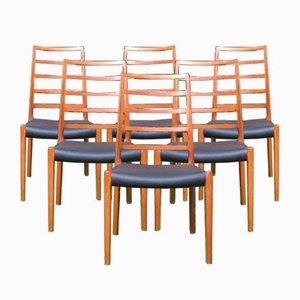 Modell 82 Esszimmerstühle aus Teak mit Sprossen von Niels O. Moller, 1960er, 6er Set