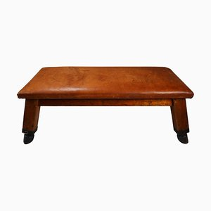 Wooden Patinated Leather Gym Bench or Table, 1950s