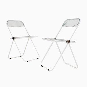 Weißer Mid-Century Plia Stuhl von Giancarlo Piretti für Castelli
