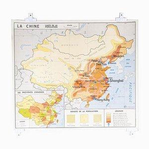 Französische Doppelseitige Lehrtafel der Bevölkerung Chinas und der UdSSR, 1970er