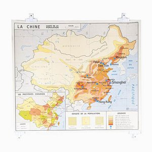 French Double Sided Educational School Poster of the Populations of China and USSR, 1970s