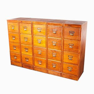 Tall Oak 4-Drawer Filing Cabinet, Belgium, 1930s