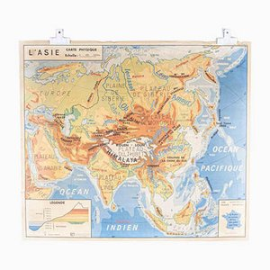 French Double Sided Educational School Poster of the Physical Geography of North America and Asia, 1970s