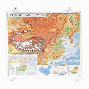 French Double Sided Educational School Poster of the Geography of China and Population of UK, 1970s