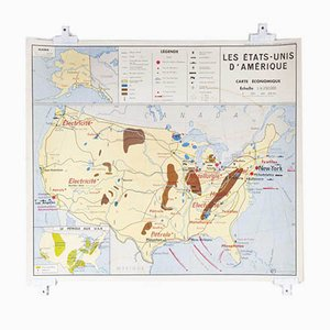 Französische Doppelseitige Schulwandkarte der Ökonomien von Nordamerika und Großbritannien, 1970er