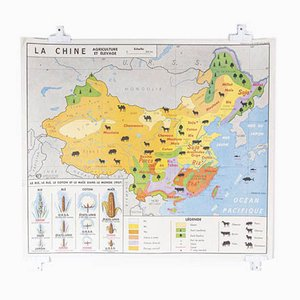 French Double Sided Educational School Poster of the Agriculture of China and USSR, 1970s