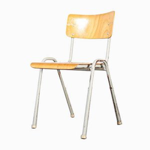 French Industrial Metal-Framed Stacking University Dining Chair, 1960s